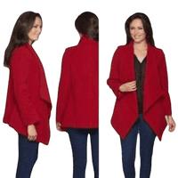 Womens Red Waterfall Drape Wool Coat K9099
